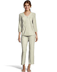 Hanes Women's ComfortSoft® Button Front with Pocket 3/4 Sleeve Top and Capri Pant Sleep Set