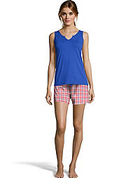 Hanes Women's ComfortSoft® Notched Neckline Tank and Short Sleep Set