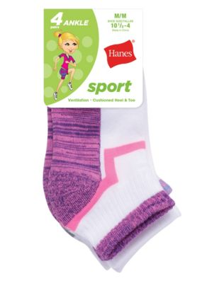Hanes Girls' Sport Ankle 4-Pack