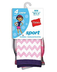 Hanes Girls' Sport Crew Socks 4-Pack