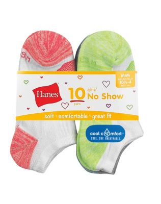 Hanes Girls' Cool Comfort No Show Socks 10-Pack