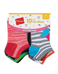 Hanes Girls' Fashion No Show Socks 10-Pack