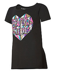 Hanes Girls' Peplum Graphic Short Sleeve T-Shirt
