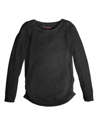 Hanes Girls' Shirred Solid Long-Sleeve Tee