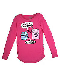 Hanes Girls' Shirred Long-Sleeve Graphic Tee