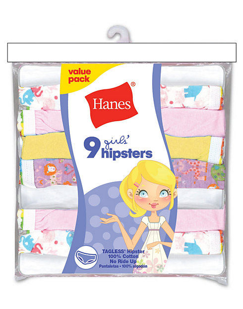 d4895b20d79a Hanes Girls' No Ride Up Cotton TAGLESS Hipsters | 1a0792