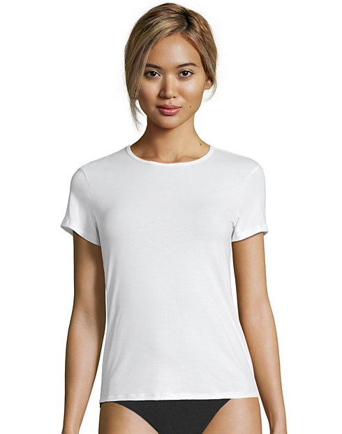 Hanes Women's Cotton Stretch Crewneck Tee 3-Pack