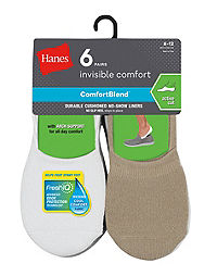 Hanes Men's ComfortBlend® Cushioned No-Show Liner Socks Active Cut 6-Pack