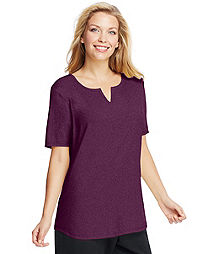 Just My Size by Hanes Split-V-Neck Short-Sleeve Women's Tee with Shirttail Hem – Solid Colors