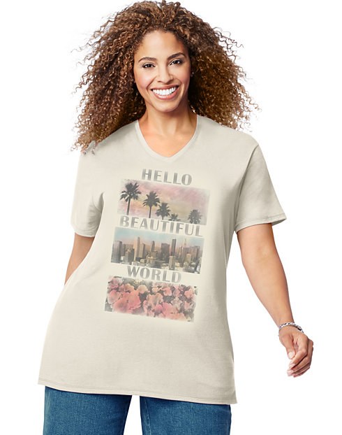 Just My Size Short-Sleeve V-Neck Women's Graphic Tee