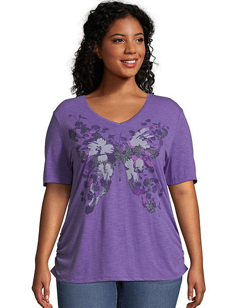 JMS Short-Sleeve V-Neck Women's Graphic Tee with Shirred Sides