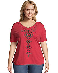 Just My Size Short-Sleeve V-Neck Women's Graphic Tee with Shirred Sides