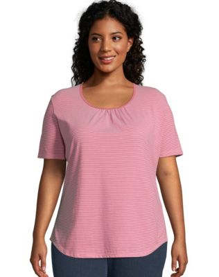 JMS Shirred & Striped Scoop-Neck Women's Jersey Tee