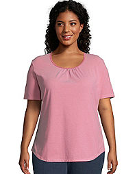 Just My Size Shirred & Striped Scoop-Neck Women's Jersey Tee