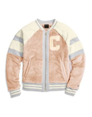 Champion® Women's Faux Fur Jacket, Block Arch Logo
