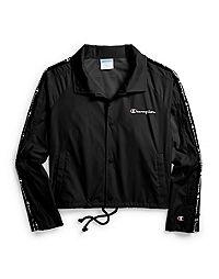 Champion Life® Women's Zipper Tape Cropped Coaches Jacket, Oversized C Logo
