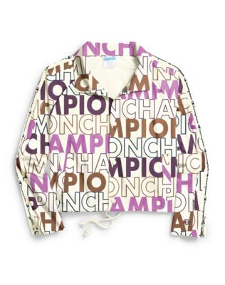 Champion Life® Women's Zipper Tape Cropped Coaches Jacket, All Over Logo