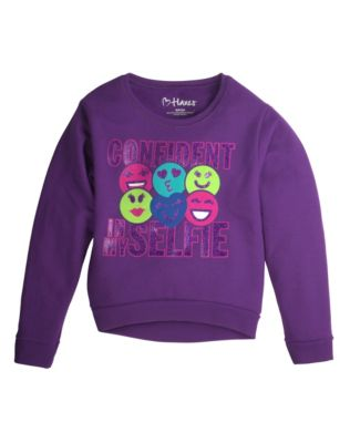 Hanes Girls' High-Low Crewneck Graphic Sweatshirt