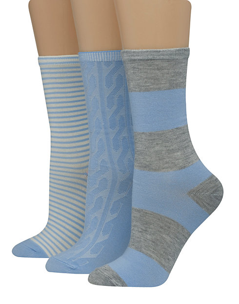 Hanes Women's Assorted Giftable Crew Socks 3-Pack