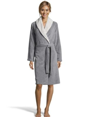 Sherpa Fleece Shawl Collar Robe