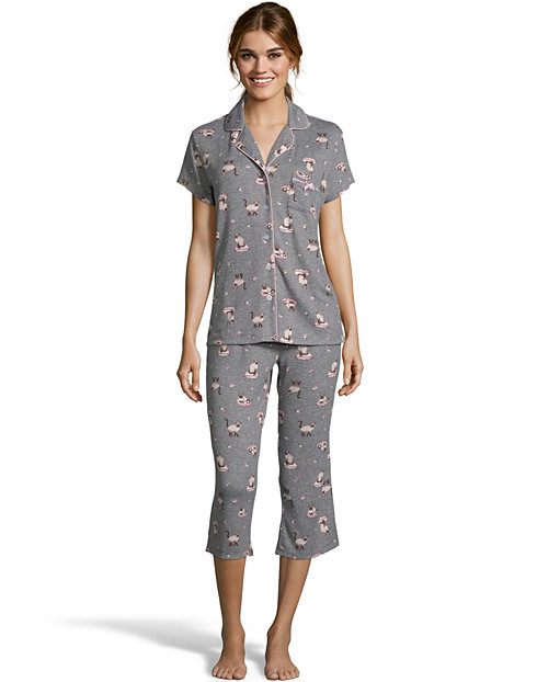 Notch Collar Soft & Cozy Cats Capri Sleep Set