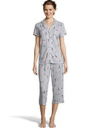 Notch Collar Soft & Cozy Eiffel Tower Capri Sleep Set