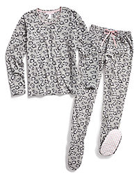 Pillow Talk Heart & Sole Microfleece Footed PJ Set