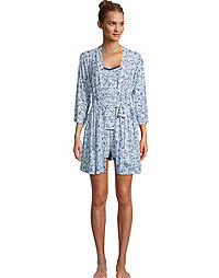 Rene Rofe Three-Piece Robe & Shorts Sleep Set