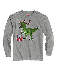 Hanes Boys' Rudolphphosaurus Rex Long-Sleeve Tee