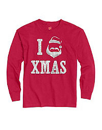 Hanes Girls' I Love XMAS Long-Sleeve Tee