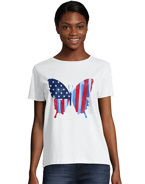 Hanes Women's Star Spangled Butterfly Graphic Tee