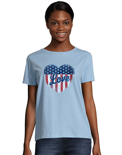 Hanes Women's Stars & Stripes Heart Graphic Tee