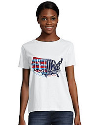 Hanes Women's Americana Map Graphic Tee