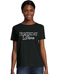 Women's ComfortSoft® Birthday Diva Graphic Crewneck Tee