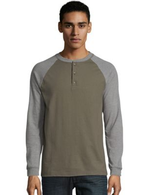 Hanes Beefy-T Men's Long-Sleeve Colorblock Henley