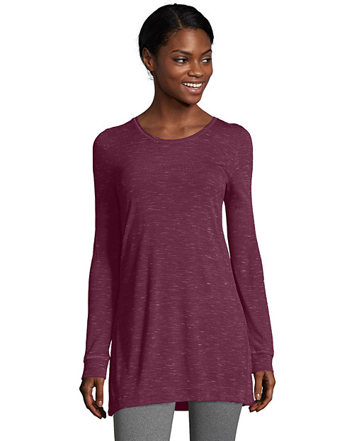 Hanes Women's Lightweight Space-Dyed Vented Long-Sleeve Tunic