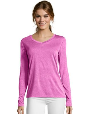 Hanes Sport™ Cool DRI® Women's Performance Long-Sleeve V-Neck T-Shirt