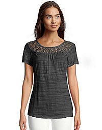 Hanes Women's Peasant Lace Yoke Top