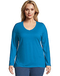5705ae9103c Just My Size Long-Sleeve V-Neck 100% Cotton Women s Tee
