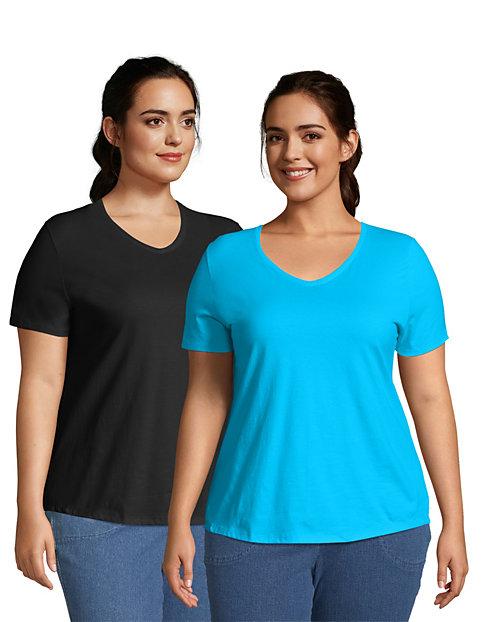 1XL-5XL Just My Size Women/'s X-Temp Short-Sleeve V-Neck Pocket T-Shirt-4 COLORS