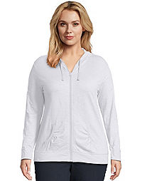 JMS Slub-Cotton Full-Zip Lightweight Women's Hoodie