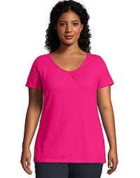 JMS Slub-Cotton Short-Sleeve Shirred V-Neck Women's Tee