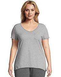 Just My Size X-Temp® Short-Sleeve V-Neck Lightweight Women's Pocket Tee