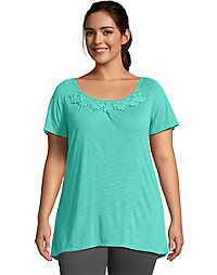 Just My Size Short-Sleeve Slub-Jersey Women's Tunic with Crochet Trim