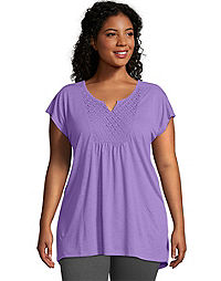 Just My Size Short-Sleeve Slub-Jersey Women's Tunic Crochet Bib Yoke
