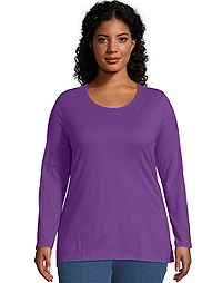 Just My Size Long-Sleeve Scoop-Neck 100% Cotton Women's Tee