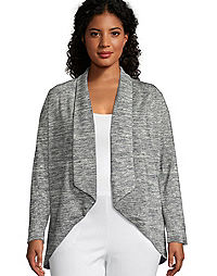 Just My Size Women's French Terry Lightweight Flyaway Cardigan