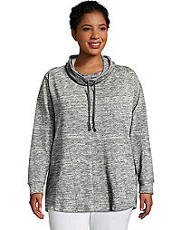 Just My Size Women's French Terry Lightweight Cowl-Neck Tunic