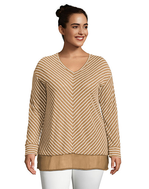 JMS Ultra-Light V-Neck Women's Tunic with Chiffon Hem