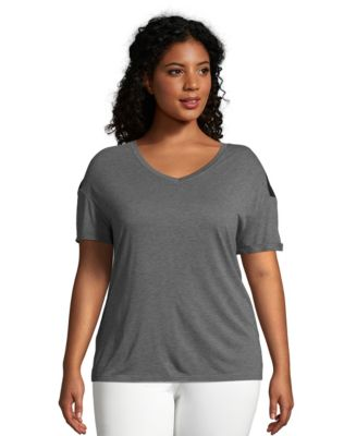 Just My Size Active Mesh Yoke Tee